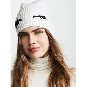 New Kate spade white knit winking eyes beanie